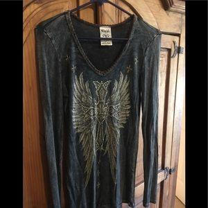 Long sleeve bling wings shirt